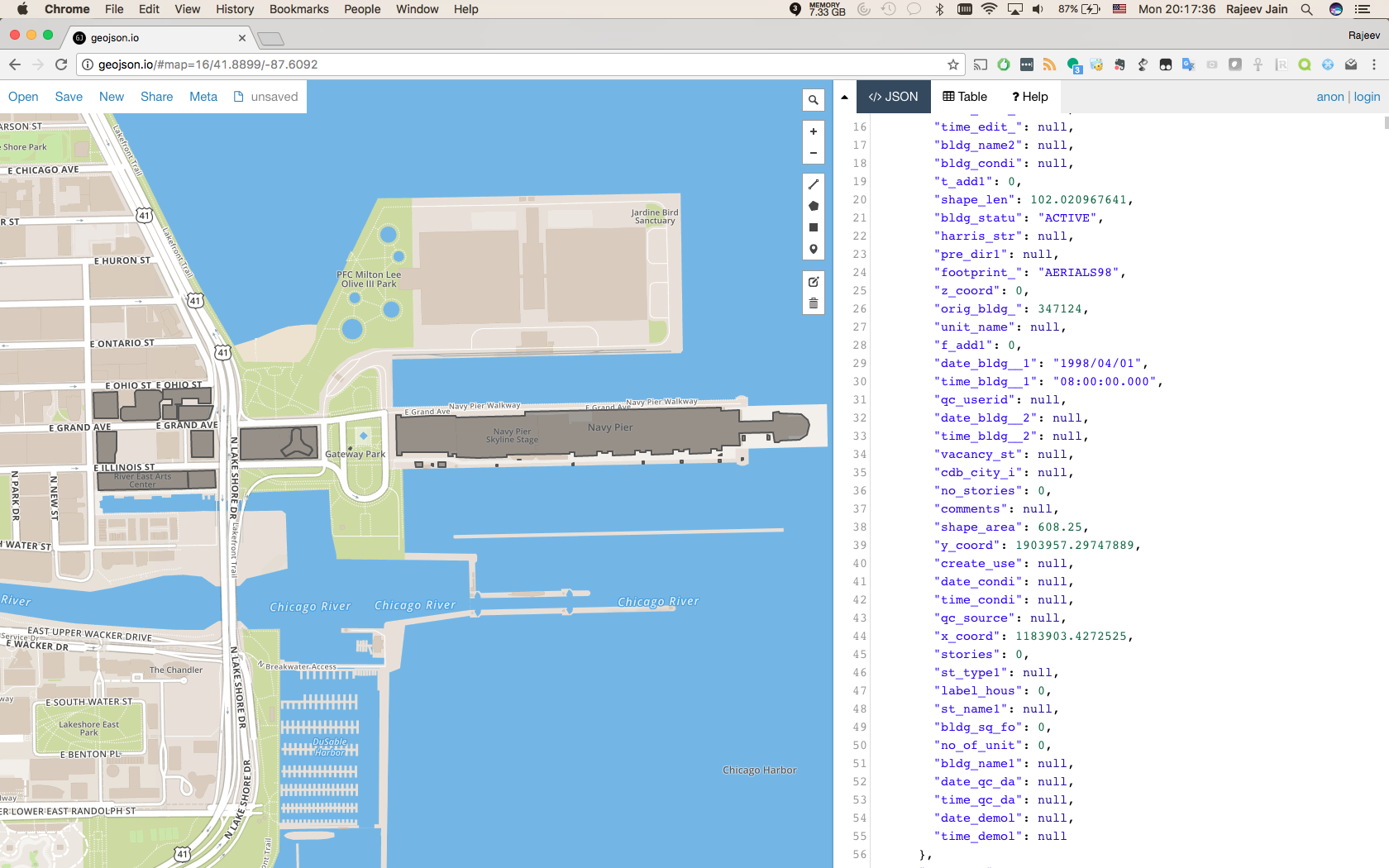 Website: http://geojson.io/ can be used to visualize the original input to tool. The geojson or building shape is used to model the building footprints of Navy Pier and closeby buildings.