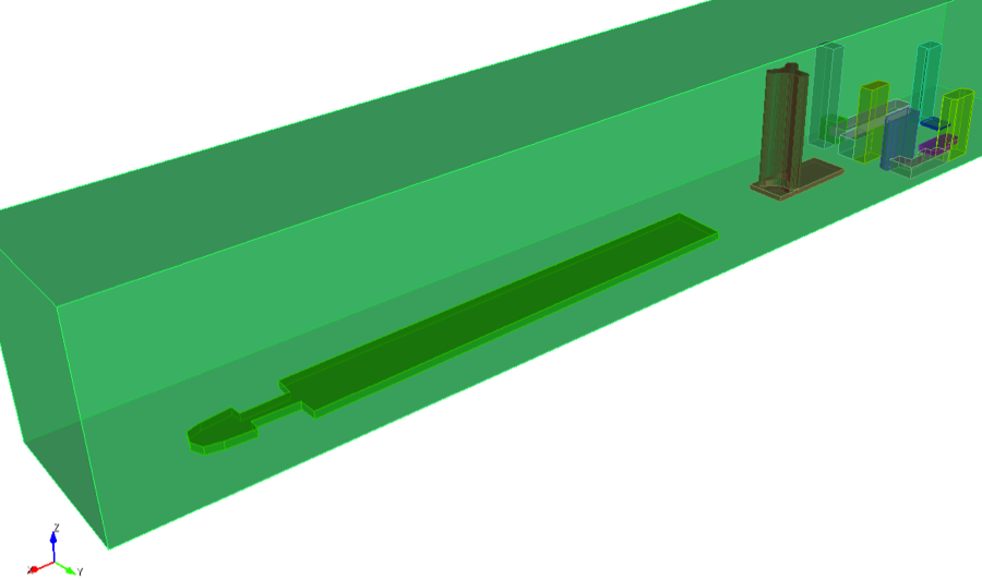 Complement of buildings added for modeling airflow.