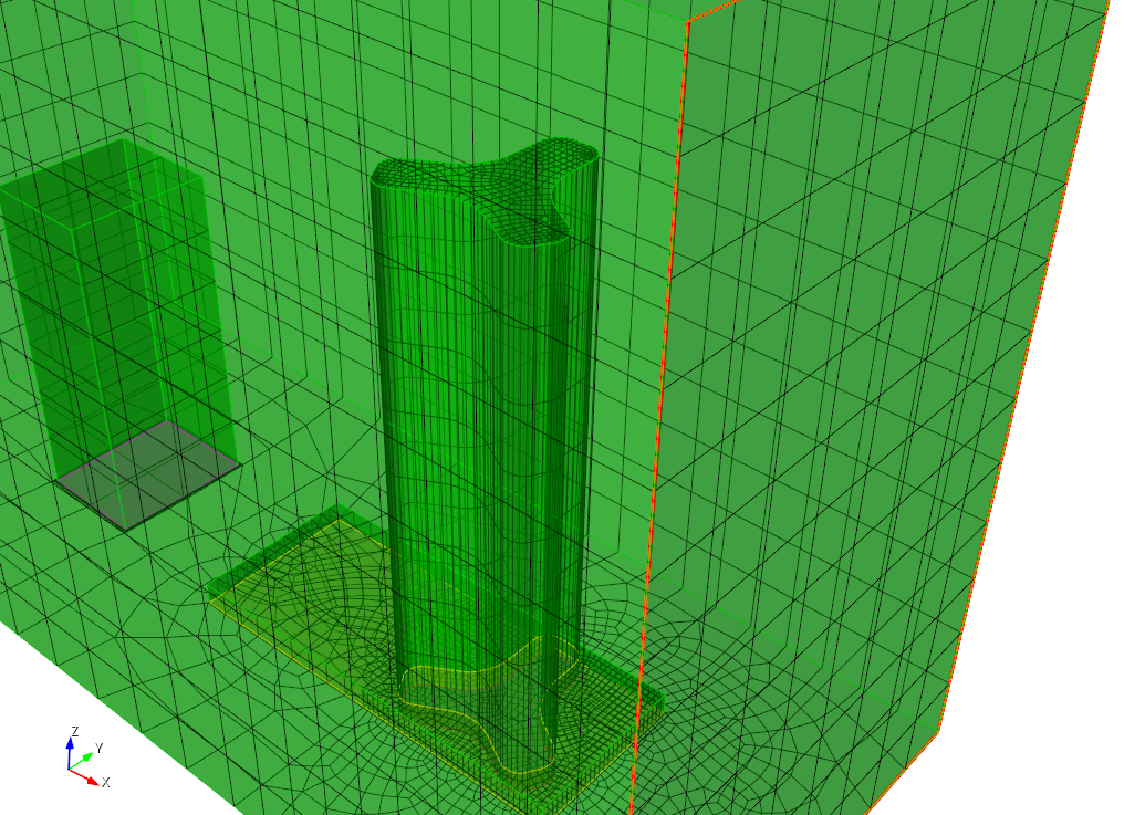 Conformal hexahedral mesh of Lake Point Tower, building 500 and atmosphere.